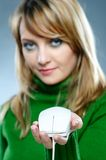 Woman with mouse Stock Photos