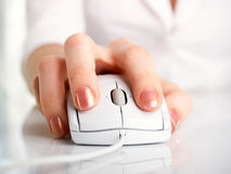 Woman with mouse Stock Photography