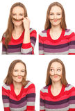 Woman with moustache Stock Photos
