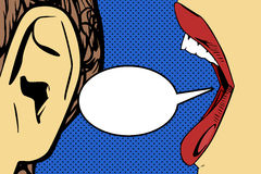 Woman mouth and ear with speech bubble Royalty Free Stock Photos