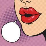 Woman mouth pop art comic vector Stock Photography