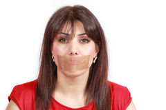 Woman mouth-taped Stock Photo