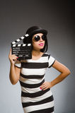 The woman in movie art concept Royalty Free Stock Photo