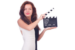 Woman with movie board Royalty Free Stock Photos
