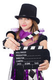 Woman with movie board Stock Photos