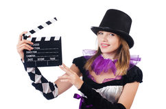 Woman with movie board Royalty Free Stock Images