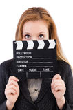 Woman with movie board Royalty Free Stock Photo