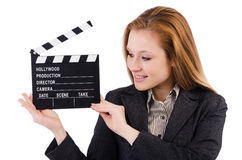 Woman with movie board Royalty Free Stock Photography