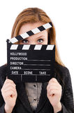 Woman with movie board isolated Royalty Free Stock Photo