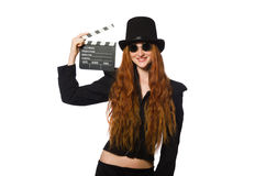 Woman with movie board isolated on white Stock Image