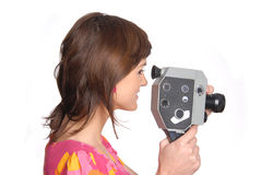 Woman with movie camera Royalty Free Stock Photo