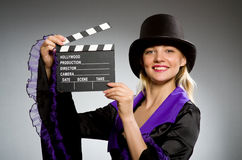 Woman with movie clapboard Royalty Free Stock Images