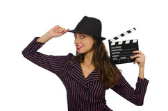 Woman with movie clapboard isolated Royalty Free Stock Image