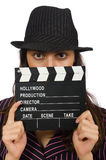 Woman with movie clapboard isolated Stock Photo
