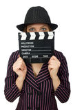 The woman with movie clapboard isolated on white Royalty Free Stock Photo