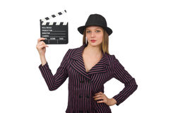 The woman with movie clapboard isolated on white Royalty Free Stock Photography
