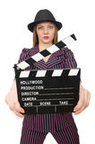 The woman with movie clapboard isolated on white. Woman with movie clapboard isolated on white Royalty Free Stock Photo