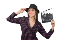 The woman with movie clapboard isolated on white Royalty Free Stock Images