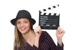 The woman with movie clapboard isolated on white Stock Photography