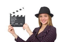 Woman with movie clapboard isolated on white Royalty Free Stock Images