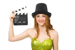 Woman with movie clapboard isolated on white Stock Photos