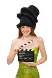 Woman with movie clapboard isolated on white Royalty Free Stock Photos