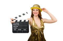 Woman with movie clapboard isolated on white. The woman with movie clapboard isolated on white Royalty Free Stock Image
