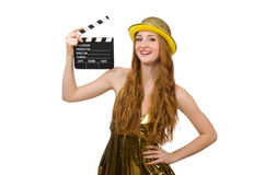 The woman with movie clapboard isolated on white Stock Photo