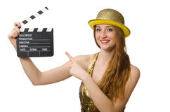The woman with movie clapboard on white Royalty Free Stock Photo