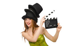 The woman with movie clapboard on white Stock Images