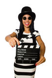 The woman with movie clapper on white Stock Photos