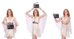 The woman with movie clapper  on white Stock Photography