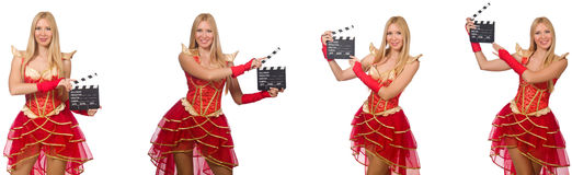 The woman with movie clapperboard isolated on white Stock Image