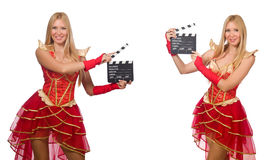 The woman with movie clapperboard isolated on white Stock Photography