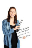 Woman with movie slate Royalty Free Stock Image