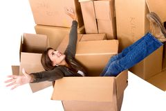 Woman in a moving box Royalty Free Stock Photos