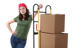 Woman with Moving Boxes Stock Images