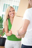 Woman moving in with boyfriend Royalty Free Stock Photos