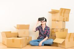 Woman moving and experience vr device Stock Images