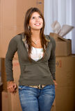 Woman moving homes Stock Photography