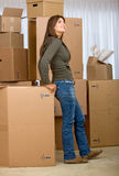 Woman moving homes Stock Photo