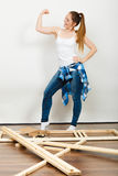 Woman moving into new apartment. Success. Stock Photography