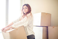 Woman Moving Royalty Free Stock Photography