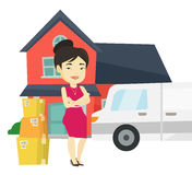 Woman moving to house vector illustration. Royalty Free Stock Photo