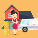 Woman moving to house vector illustration. Royalty Free Stock Photography