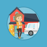 Woman moving to house vector illustration. Stock Images