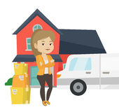 Woman moving to house vector illustration. Royalty Free Stock Image
