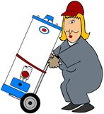 Woman Moving A Water Heater royalty free illustration