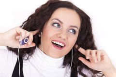 Woman with mp3 player Stock Image