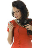 Woman with mp3 player Royalty Free Stock Photo